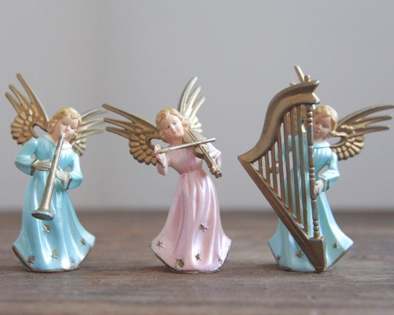 Angel Orchestra - Lot of 3 Vintage Miniature Pink and Blue Pastel Plastic Ornaments - Hong Kong