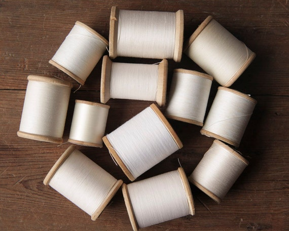 Vintage Shabby White Sewing Thread Lot - 12 Wooden Spools