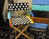 Directors Chair Custom Painted for new teacher's classroom Polka DOTS Seat Stripes on Back Rest RESERVED