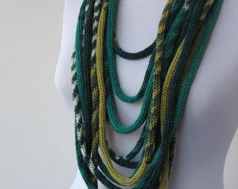 30% OFF SALE - Knit Scarf Necklace - loop scarf - infinity scarf - neck warmer -  knit scarflette - in white and green tones    E096