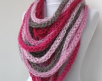 30% OFF SALE - Scarf necklace - loop scarf - infinity scarf - neck warmer - hand knitted - in rose, fushia pink, gray (WAS 55)    E259