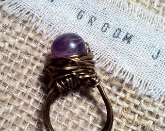 Amethyst Vintage Copper Wrapped Ring