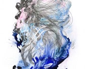 A Dissonance in my Memory I Carry Around / Giclee print / deaf / sound / music / abstract painting / organic / blue / water / detailed /