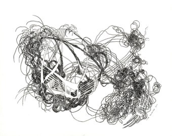 """I feel the lights go off in the space outside my body / Giclee print / 8.5"""" x 11"""" / poetry art / organic / drawing / black and white"""