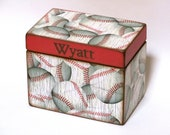 Treasure Box Keepsake Box - Baseballs Sports - Personalized