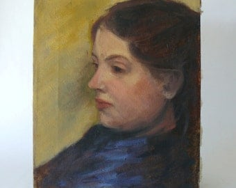 Original Impressionist Oil Painting Portrait Pensive Young Woman in Blue Signed
