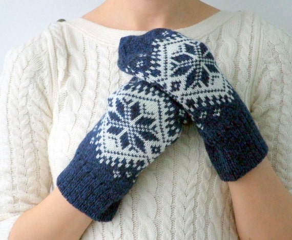 Knitting Pattern For Snowflake Mittens : Knit mittens snowflakes ornament wool by CozySeason on Etsy