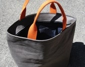 RETIRING - As seen in Seattle Magazine - Cement Grey gray Leather Triangle Tote Bag Satchel with Orange handles - Laurel Dasso