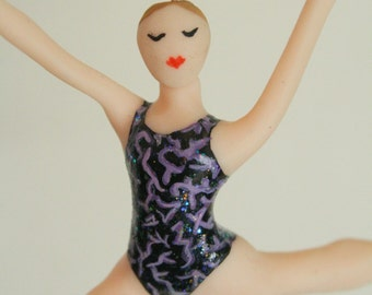 Gymnast Ornament CUSTOMIZED to your school/team colors Hand Sculpted in Clay