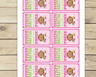 Girl Monkey Baby Shower Diaper Raffle Tickets - Pink Baby Shower Diaper Raffle Cards - Instant Download - Monkey Girl Baby Shower Games