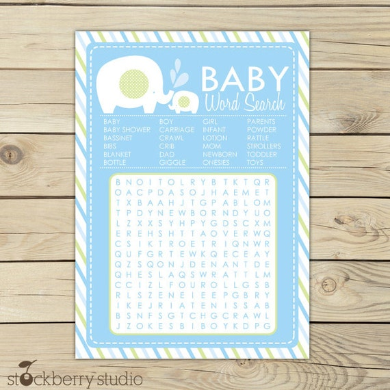 Boy Elephant Baby Shower Word Search Game Blue Baby Shower