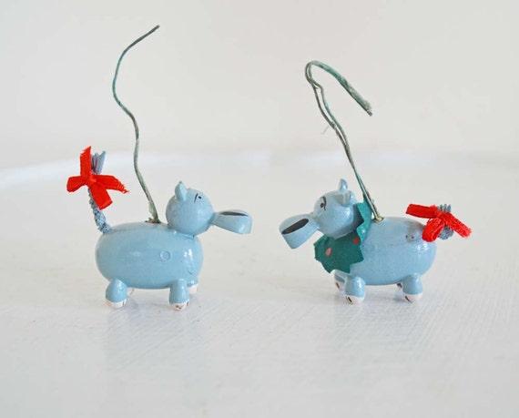 Vintage Wood Christmas Ornament Hippo Pair Grey Blue White Red Wreath Bow Christmas Tree Decoration Animal Noah's Ark