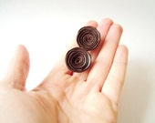 Leather Stud Earrings, Leather Roses, Flower Earrings, Chocolate Brown, Leather Jewelry, Cute Studs