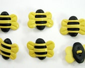 Large Bumble Bee Buttons Set of Six