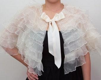 Gigi Ruffled Bridal Cape Cover up