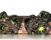 Vintage Antiqued Faux Amethyst and Peridot Earrings