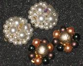 Two Pairs Vintage Japan Stamped Cluster Earrings