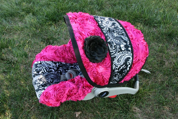 3d rose pailsey minky with flower infant car by babycovers2010. Black Bedroom Furniture Sets. Home Design Ideas