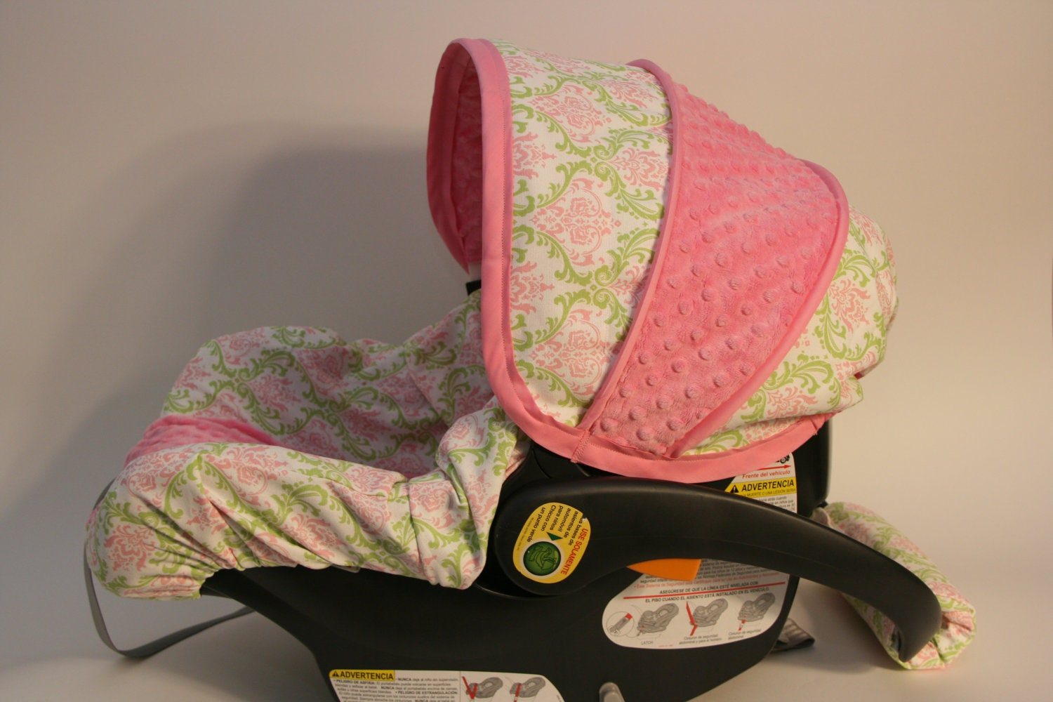 ships today pink lime damask infant chicco car seat cover. Black Bedroom Furniture Sets. Home Design Ideas