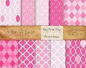 INSTANT DOWNLOAD - Digital Papers Scrapbooking Backgrounds Pink, Quatrefoil, Geometric, Concentric Circles, Harlequin Printable 12x12 jpg