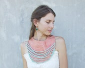 Winter sale. Coral collar with mint ropes statement felt necklace felted wool bib collar green pink scarf bridesmaid