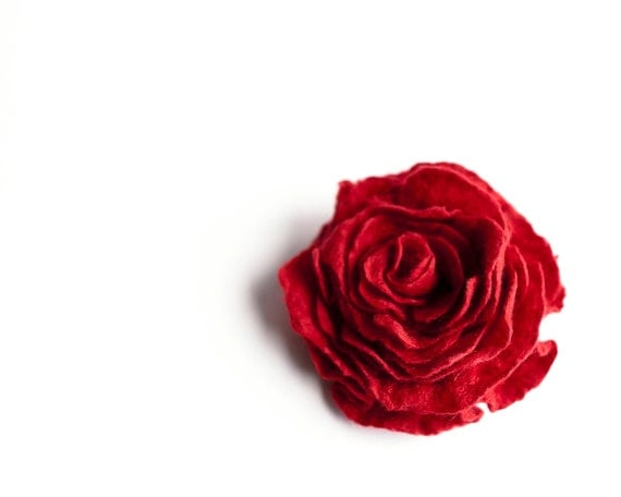 Red rose brooch felted wool soft flower Wedding bridesmaid  gift idea summer fashion
