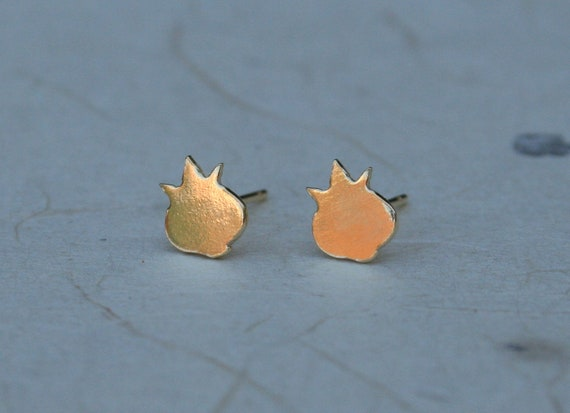 Tiny Gold Pomegranate studs 18K gold plated pomegranate earrings