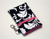 Custom fabric cell phone holder, iPhone 6 6s Plus, iPhone 7 plus, 5 5s 5c 4s 4 smartphone, wallet, case, purse, sleeve, pouch-Reverse pink