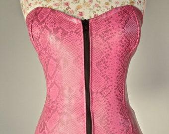 90's Hot Pink PVC Snakeskin Bustier Corset Zip up Top