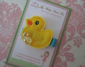 Girl hair clips - rubber duck - girl barrettes