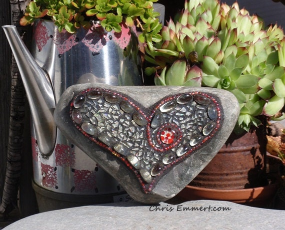 """Silver with a little """"Sparkle"""" Recycled Tempered Glass Heart /Garden Stone"""