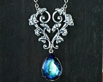 Bermuda Blue Crystal Wedding Necklace