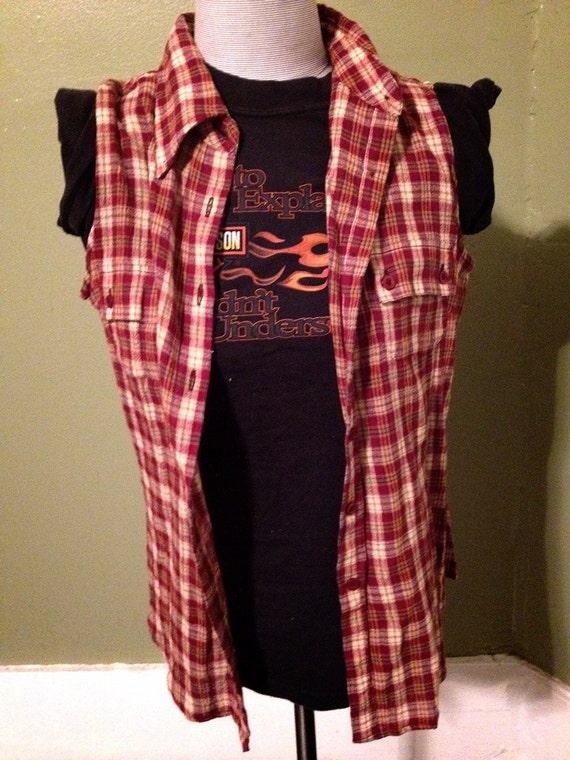 cut off flannel shirt vest