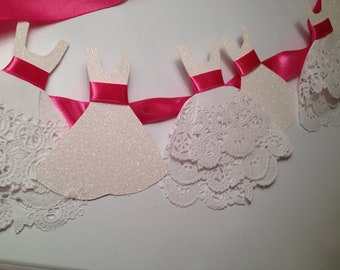 Wedding Garland with Ruffles/ Lace white pink bridal shower