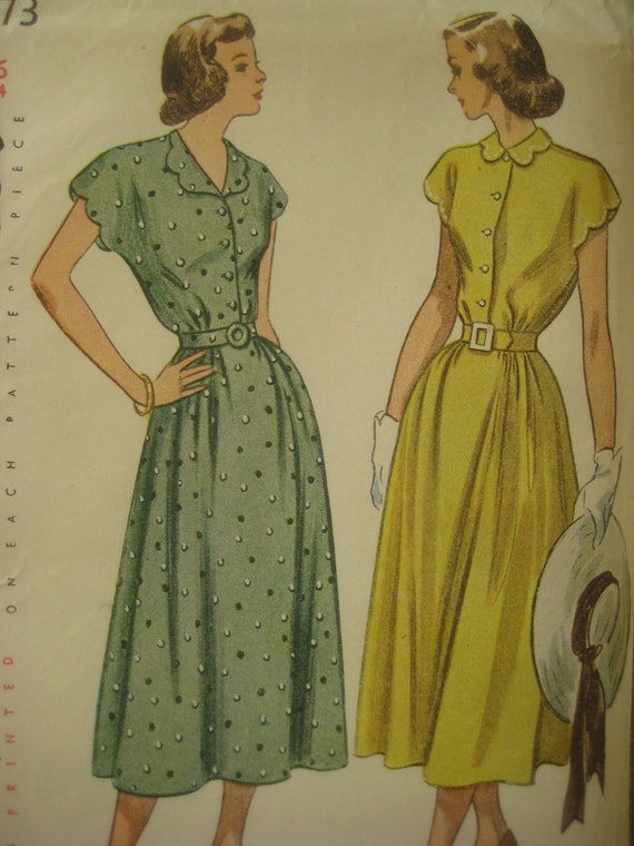 Vintage Simplicity 2473 Sewing Pattern, 1940s Dress Pattern, Bust 34 Inches, Vintage Size 16