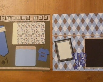 FATHER'S DAY, Pre made scrapbook pages, two 12x12 pages, Dad, Fathers Day, scrapbooking, premade