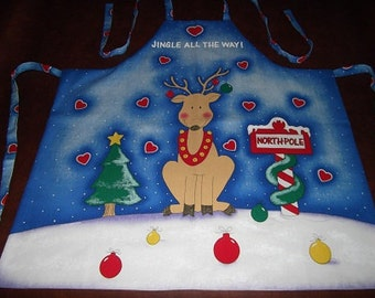 Christmas Apron - North Pole Reindeer
