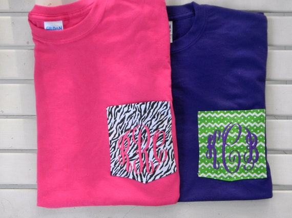 Monogrammed Personalized FABRIC Pocket T Shirt Tshirt Tee Initials Hot Pink Navy Lime Green