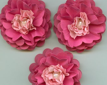Girl Peony Paper Flowers in Razzle Pink and Light Pink