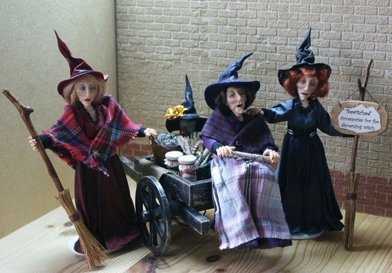 Witches go to market, handsculpted miniature dolls in 1/12th (one inch) scale