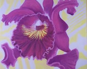 "Original Oil Painting 12""x12"" Purple Orchid Study, Tropical Floral, Flower Gift Idea"