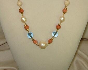 Vintage Liz Claiborne necklace,Vintage Designer necklace,Mothers Day necklace,Stunning necklace,blue necklace,pearl necklace green necklace