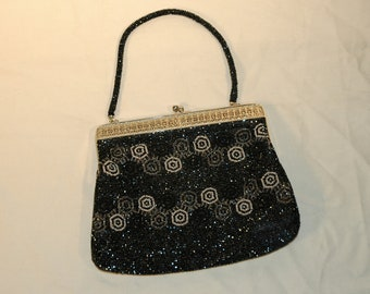 Vintage Midnight Blue Beaded Evening Bag