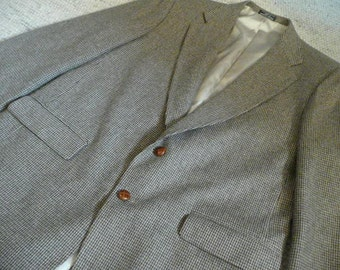 Woolrich Wool Houndstooth Mens Sport Coat mens L with Leather Buttons
