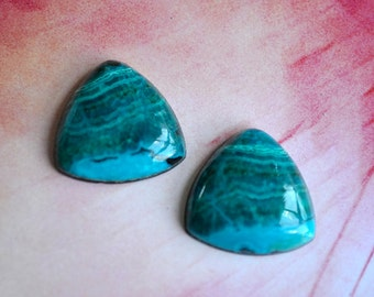 Chrysacolla Cabochons-Triangle Shaped Pair