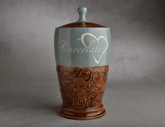 Candy Jar: I Love Chocolate Candy Jar by Symmetrical Pottery