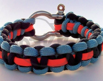 Thunder Oklahoma City OKC REVERSIBLE  550 Paracord Survival Strap Bracelet with Stainless Steel Shackle