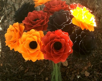 Paper Flowers - Handmade - Stemmed - Mixed Colors - Mixed Fall Colors - Made To Order - Set of 24