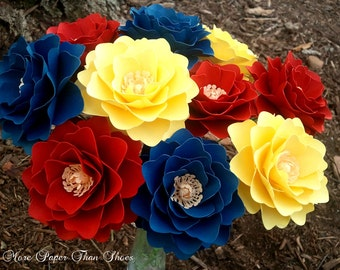 Paper Flowers - Wedding Flowers - Party Decoration - Stemmed - Custom Orders - Red - Yellow - Navy - Set of 24