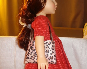 Pink and brown Leopard print tote bag purse for 18 inch Dolls - agp8
